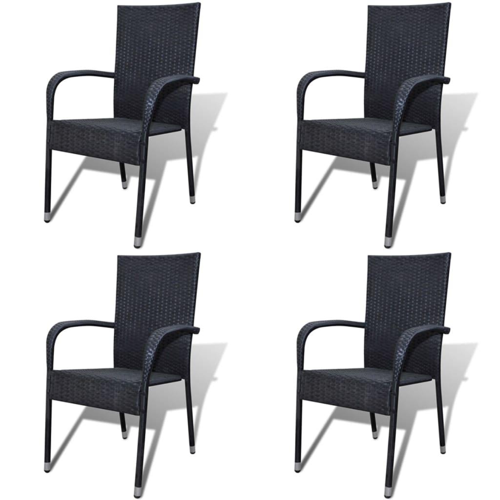 Zahradní židle 4 ks polyratan černé