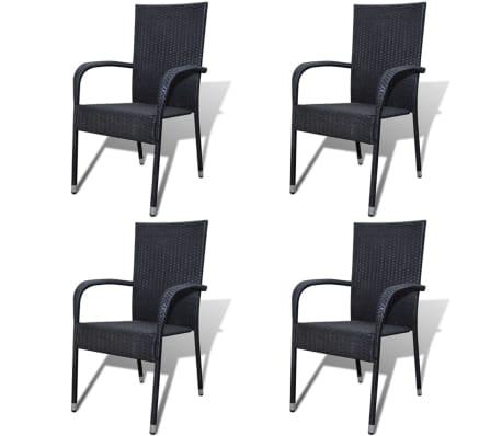vidaXL Garden Chairs 4 pcs Poly Rattan Black[1/7]