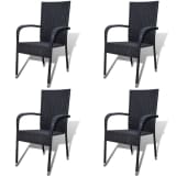 vidaXL Garden Dining Chairs 4 pcs Poly Rattan Black