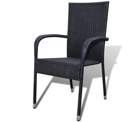 vidaXL Garden Chairs 4 pcs Poly Rattan Black[2/7]