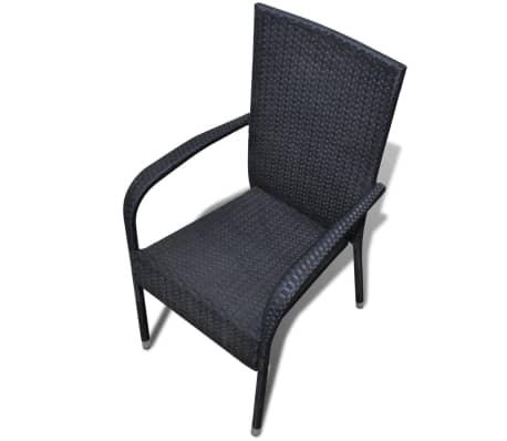 vidaXL Garden Chairs 4 pcs Poly Rattan Black[5/7]