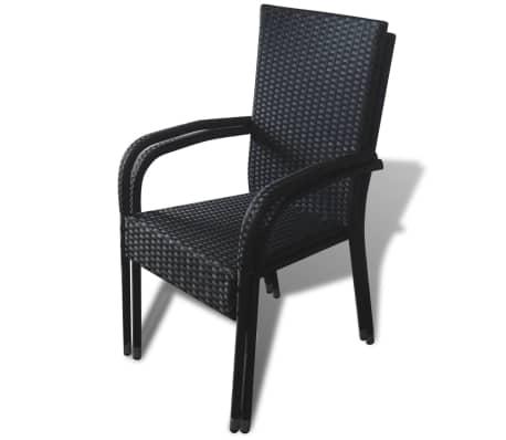 vidaXL Garden Chairs 4 pcs Poly Rattan Black[6/7]