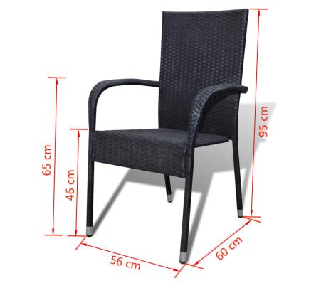 vidaXL Garden Chairs 4 pcs Poly Rattan Black[7/7]