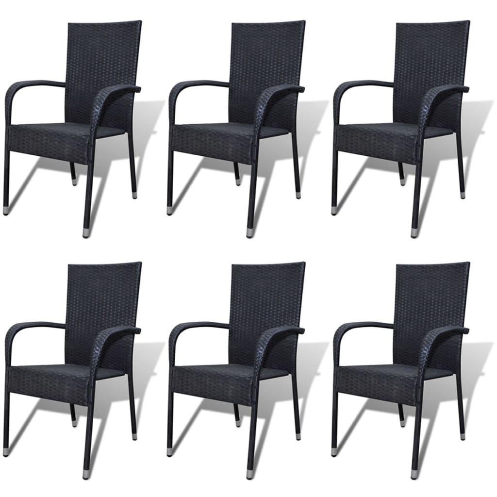 vidaXL Zahradní jídelní židle 6 ks polyratanové černé