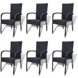 vidaXL Garden Dining Chairs 6 pcs Poly Rattan Black