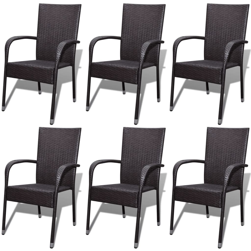 vidaXL Zahradní jídelní židle 6 ks polyratanové hnědé