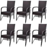 vidaXL Garden Dining Chairs 6 pcs Poly Rattan Brown