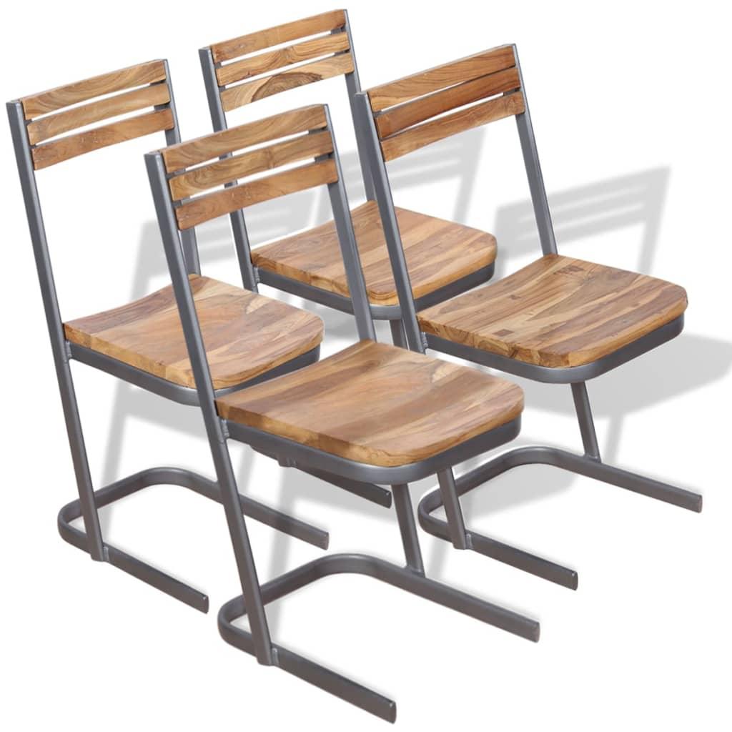 vidaXL spisebordsstole 4 stk. massivt teaktræ