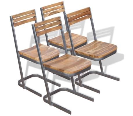 vidaXL Krzesła do jadalni, 4 szt., drewno tekowe[1/11]