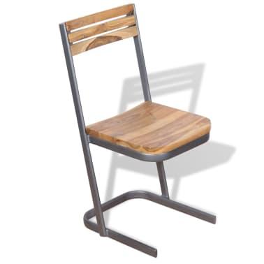 vidaXL Krzesła do jadalni, 4 szt., drewno tekowe[3/11]