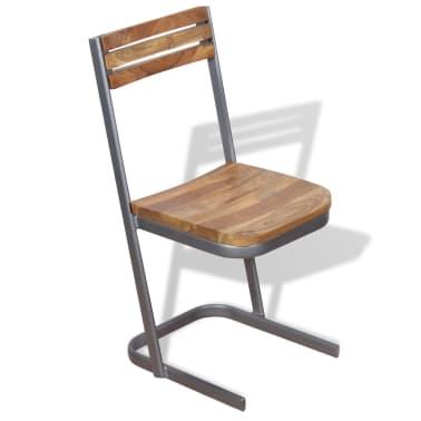 vidaXL Krzesła do jadalni, 4 szt., drewno tekowe[5/11]