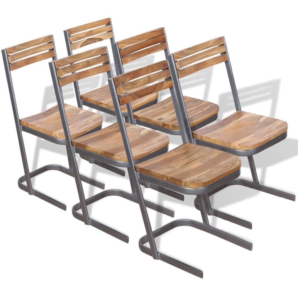 vidaXL spisebordsstole 6 stk. massivt teaktræ