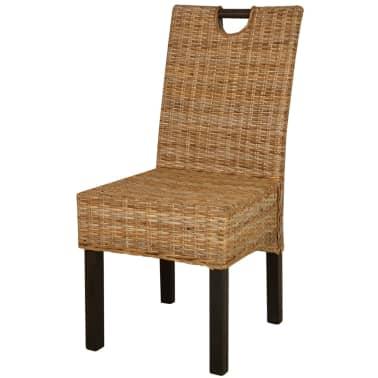 vidaXL Krzesła do jadalni, 4 szt., rattan Kubu i drewno mango[2/5]