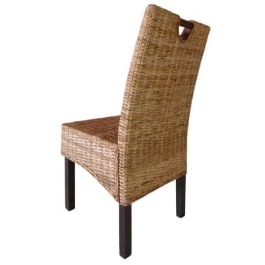 vidaXL Krzesła do jadalni, 4 szt., rattan Kubu i drewno mango[3/5]