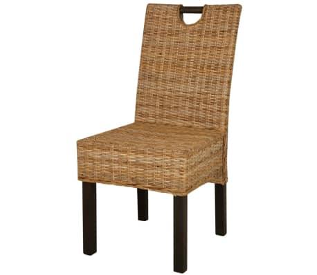 acheter vidaxl chaises de salle manger 6 pcs rotin kubu bois de manguier pas cher. Black Bedroom Furniture Sets. Home Design Ideas