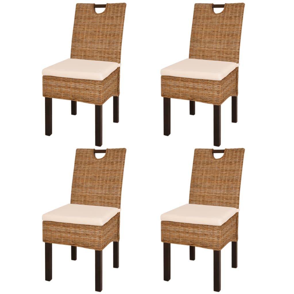 vidaXL Καρέκλες Τραπεζαρίας 4 τεμ. από Ρατάν Kubu και Ξύλο Μάνγκο