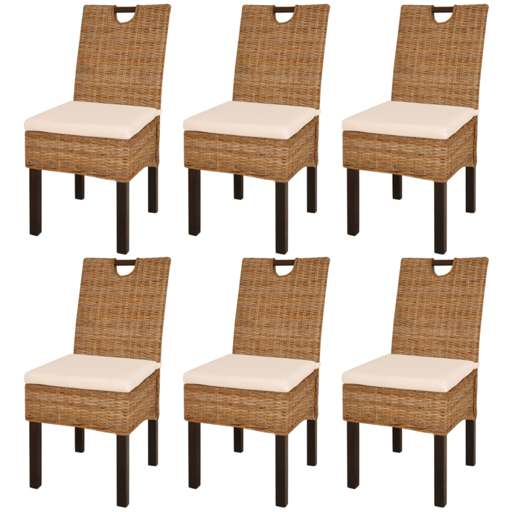 vidaXL Καρέκλες Τραπεζαρίας 6 τεμ. από Ρατάν Kubu και Ξύλο Μάνγκο