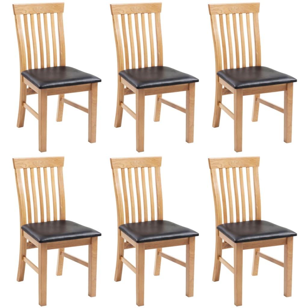 vidaXL Καρέκλες Τραπεζαρίας 6 τεμ. Μασίφ Ξύλο Δρυός / Συνθετικό Δέρμα