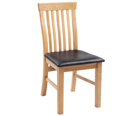 Vidaxl 6 pz sedie sala da pranzo legno di rovere in pelle for Sedie sala pranzo legno