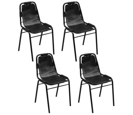 "vidaXL Dining Chairs 4 pcs Black 19.3""x20.5""x34.6"" Real Leather[1/5]"