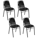 "vidaXL Dining Chairs 4 pcs Black 19.3""x20.5""x34.6"" Real Leather"