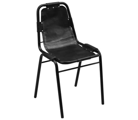 "vidaXL Dining Chairs 4 pcs Black 19.3""x20.5""x34.6"" Real Leather[2/5]"