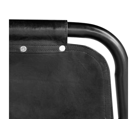"vidaXL Dining Chairs 4 pcs Black 19.3""x20.5""x34.6"" Real Leather[4/5]"