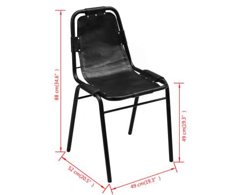 "vidaXL Dining Chairs 4 pcs Black 19.3""x20.5""x34.6"" Real Leather[5/5]"