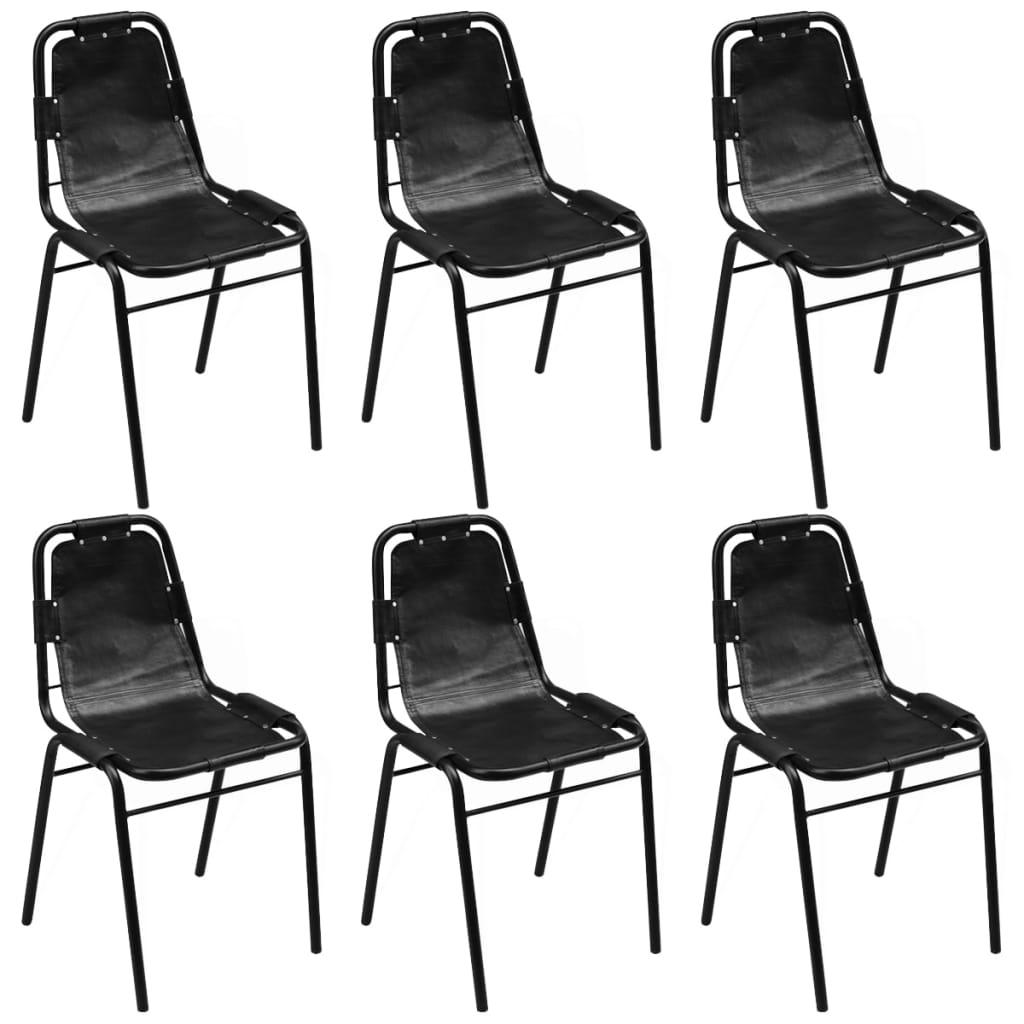 vidaXL Καρέκλες Τραπεζαρίας 6 τεμ. Μαύρες 49x52x88 εκ. Γνήσιο Δέρμα
