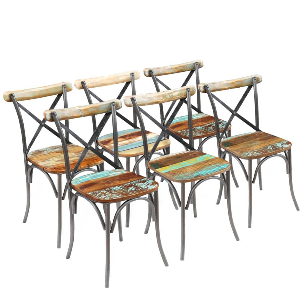 vidaXL Scaune de bucătărie, 6 buc., lemn masiv reciclat vidaxl.ro