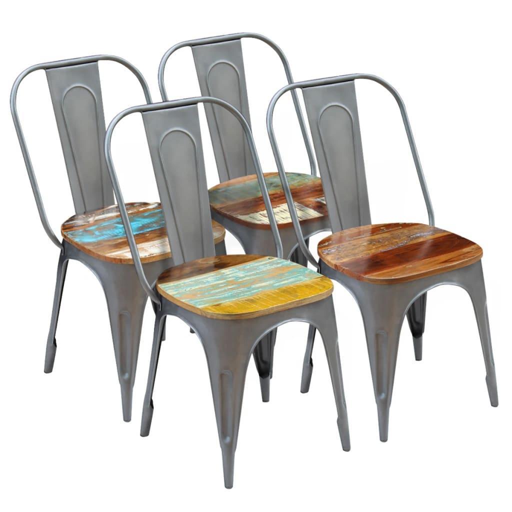 vidaXL Καρέκλες Τραπεζαρίας 4 τεμ. από Μασίφ Ανακυκλωμένο Ξύλο