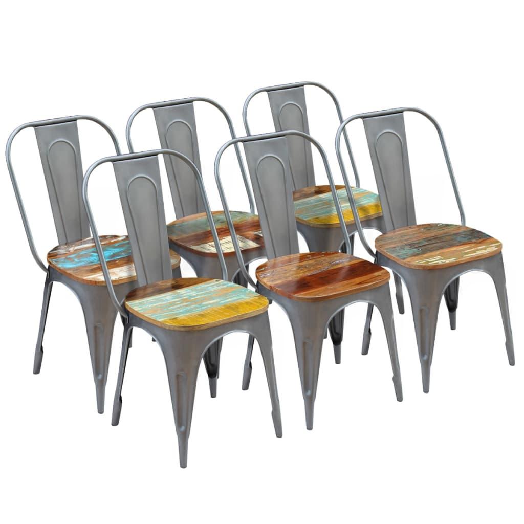 vidaXL Καρέκλες Τραπεζαρίας 6 τεμ. 47x52x89 εκ. Μασίφ Ανακυκλ. Ξύλο