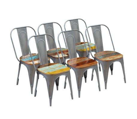 vidaXL Dining Chairs 6 pcs Solid Reclaimed Wood