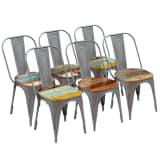 vidaXL Spisestoler 6 stk gjenvunnet heltre 47x52x89 cm