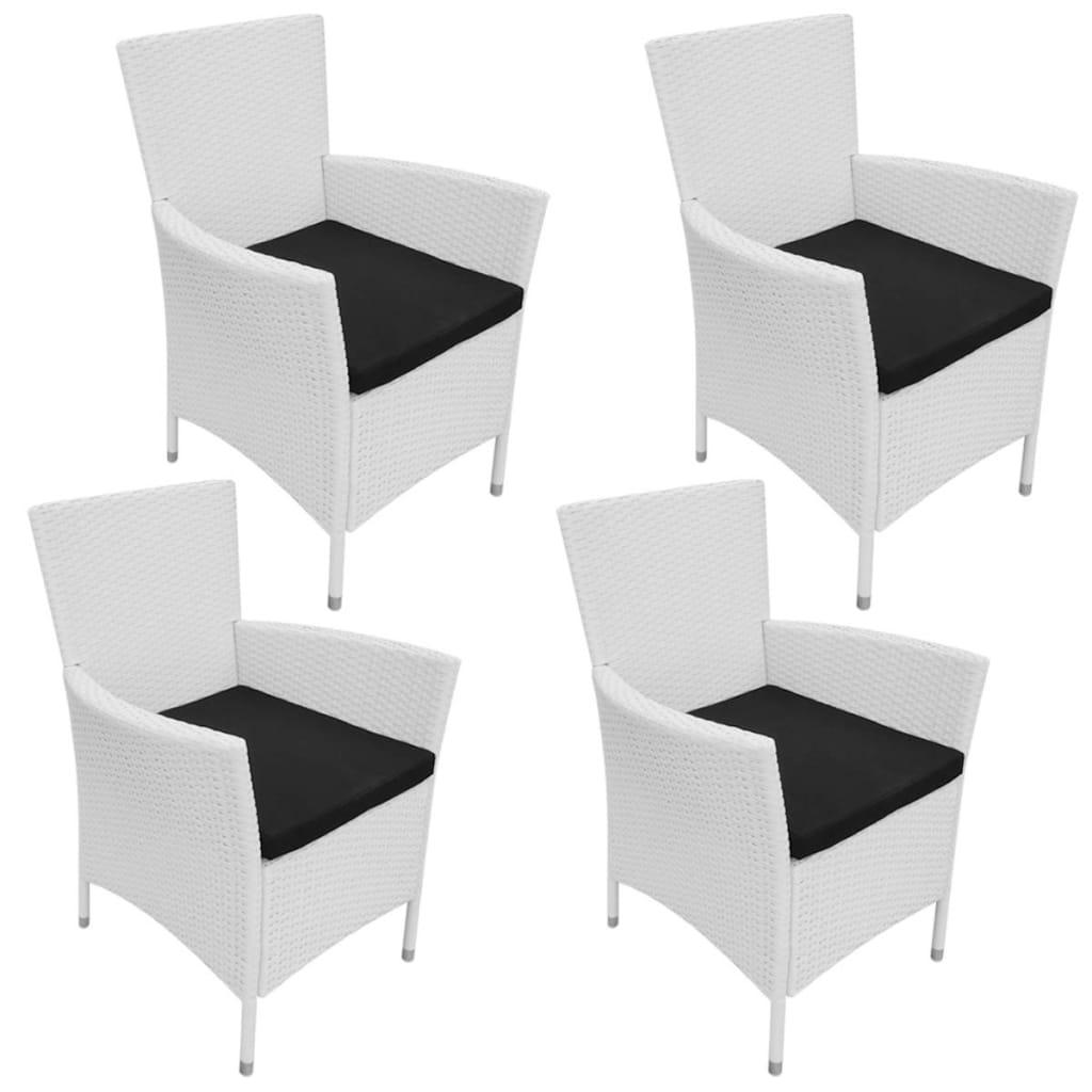 vidaXL Zahradní jídelní židle 4 ks polyratanové, krémově bílé