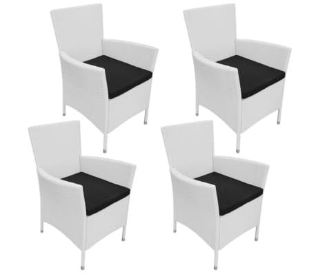 vidaXL Gartenstühle 4 Stk. mit Auflagen Poly Rattan Cremeweiß