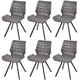 vidaXL Dining Chairs 6 pcs Artificial Leather Gray