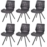 vidaXL Dining Chairs 6 pcs Artificial Leather Black