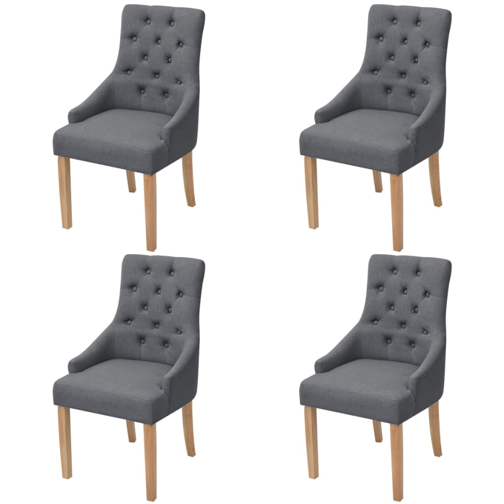 vidaXL Oak Dining Chairs 4 pcs Fabric Dark Grey