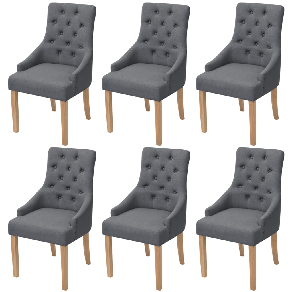 vidaXL Oak Dining Chairs 6 pcs Fabric Dark Grey
