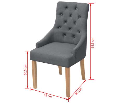 vidaxl eichenholz esszimmerst hle 6 stk stoff dunkelgrau g nstig kaufen. Black Bedroom Furniture Sets. Home Design Ideas