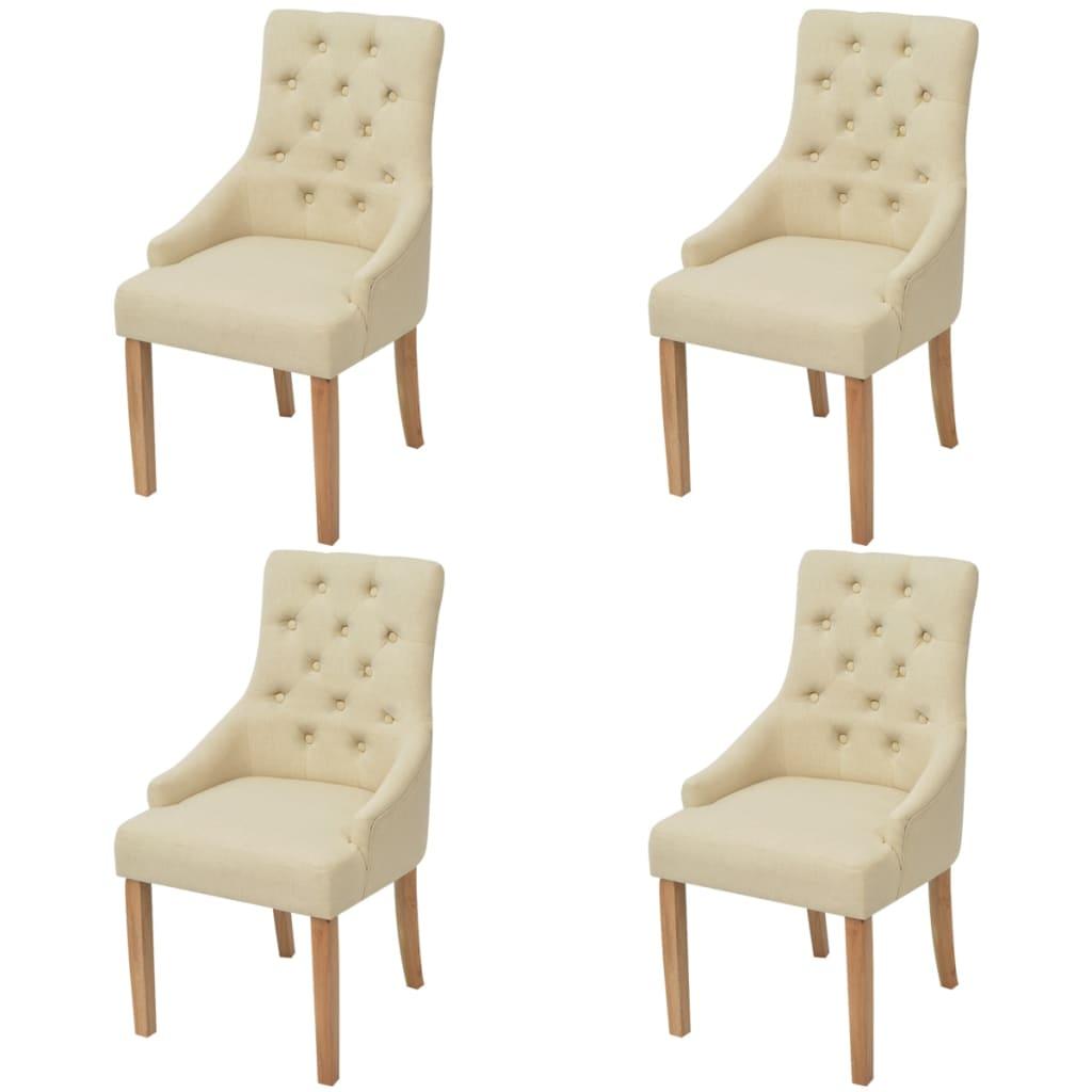 vidaXL Καρέκλες Τραπεζαρίας 4 τεμ. Κρεμ Υφασμάτινες Δρύινες