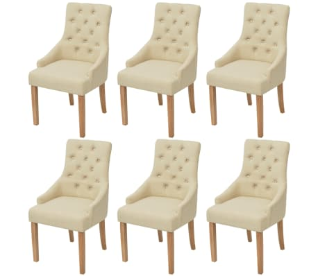 vidaXL virtuves krēsli, 6 gab., krēmkrāsas audums
