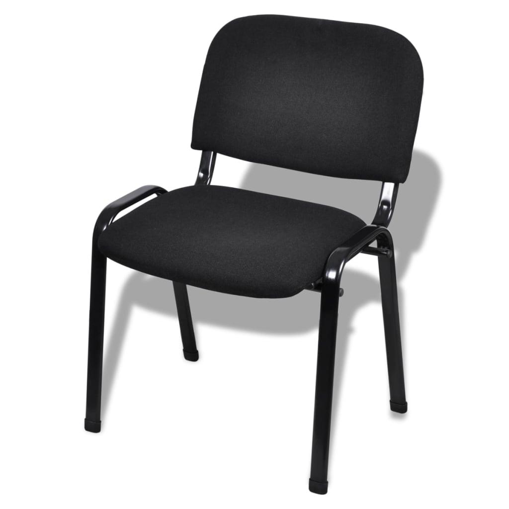 vidaXL Stapelbare kantoorstoelen 12 stuks stof zwart