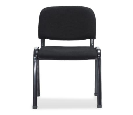 vidaXL Sukraunamos viena ant kitos biuro kėdės, 12vnt., audinys, juod.[3/6]