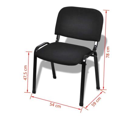 vidaXL Sukraunamos viena ant kitos biuro kėdės, 12vnt., audinys, juod.[6/6]