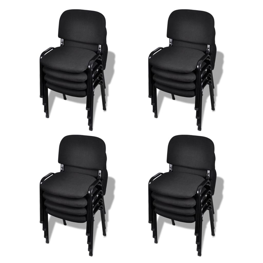 vidaXL Stohovatelné kancelářské židle 16 ks textilní černé