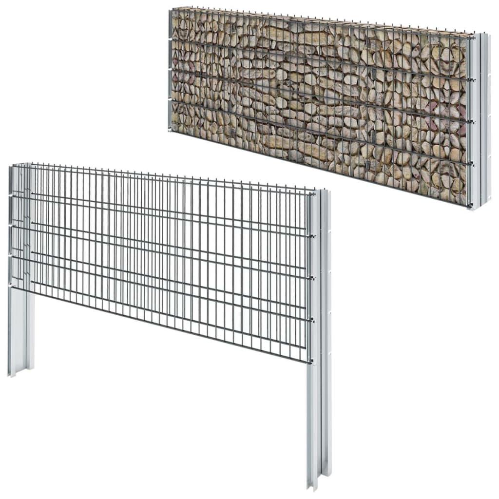 vidaXL 2D gabionový plot set 2008x830 mm, 16 m, šedý
