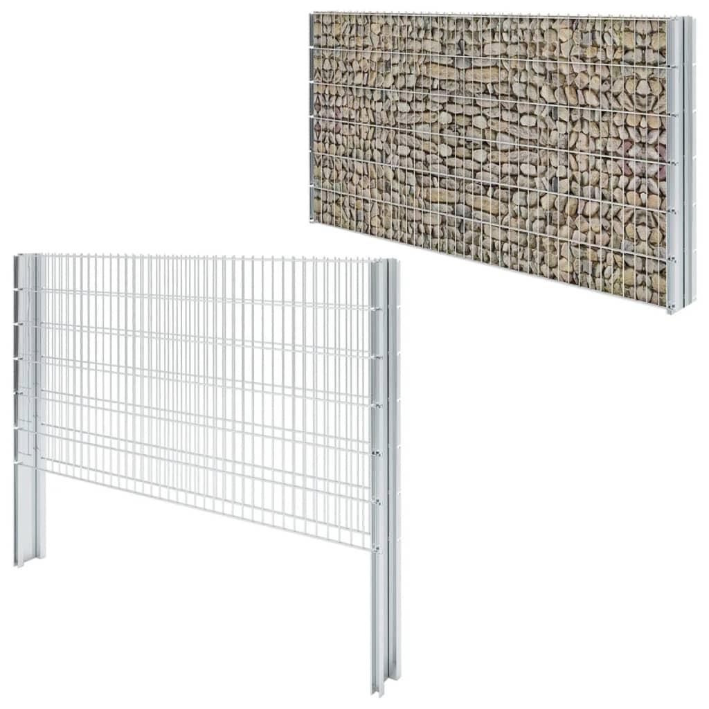 vidaXL Schanskorf dubbelstaafmat 2,008x1,23 m 6m (lengte) staal zilver