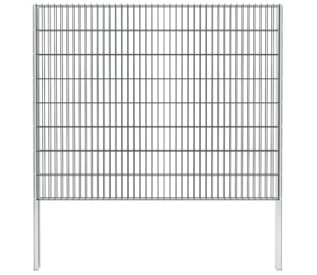vidaXL Gabionenzaun Stahl Verzinkt 2,008x1,63 m Gesamtlänge 2 m Grau